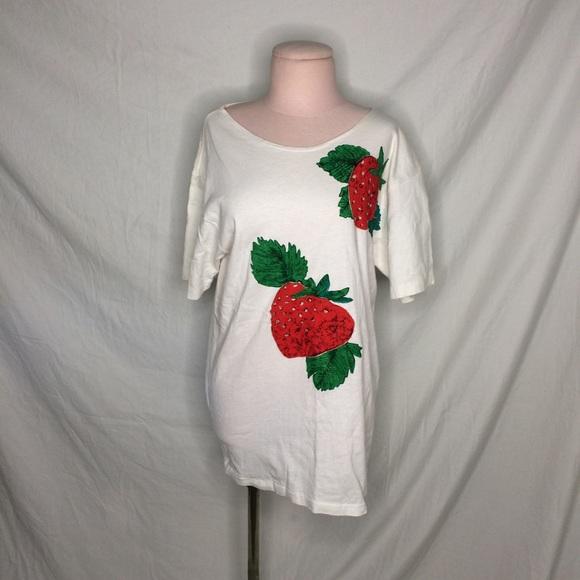 Vintage Tops - Vintage 90s 80s Strawberry Field Summer Spring fun